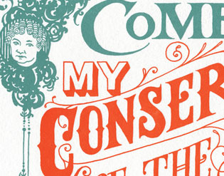 "Detail of ""Come, Come"" Dead Feminist broadside by Chandler O'Leary and Jessica Spring"