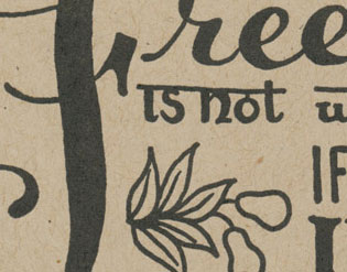 "Detail of ""Mistaken"" Dead Feminist letterpress card by Chandler O'Leary and Jessica Spring"