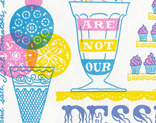 "Detail of ""Just Desserts"" Dead Feminist broadside by Chandler O'Leary and Jessica Spring"