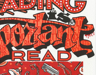 "Detail of ""Warning Signs"" Dead Feminist broadside by Chandler O'Leary and Jessica Spring"