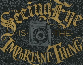 """Detail of """"Focal Point"""" letterpress broadside by Chandler O'Leary and Jessica Spring"""