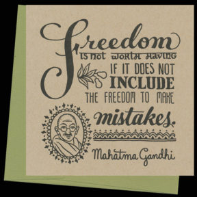 """Mistaken"" Dead Feminist letterpress card by Chandler O'Leary and Jessica Spring"