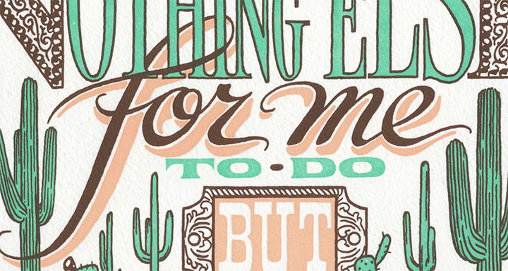 """Detail of """"On a Mission"""" letterpress broadside by Chandler O'Leary and Jessica Spring"""