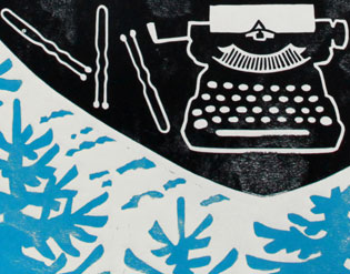 "Detail of ""The Write Path"" steamroller print by Chandler O'Leary and Jessica Spring"