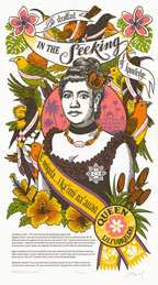 """""""Song of Aloha"""" Dead Feminist broadside by Chandler O'Leary and Jessica Spring"""