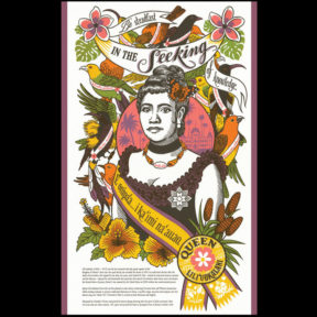 """Song of Aloha"" Dead Feminist reproduction postcard by Chandler O'Leary and Jessica Spring"