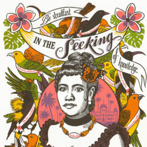 """Detail of """"Song of Aloha"""" Dead Feminist broadside by Chandler O'Leary and Jessica Spring"""