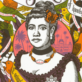 "Detail of ""Song of Aloha"" Dead Feminist broadside by Chandler O'Leary and Jessica Spring"