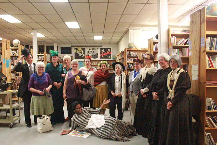 Costumed historical feminists at the Dead Feminists book launch at King's Books in Tacoma, WA. Photo by Eli Gandour-Rood.