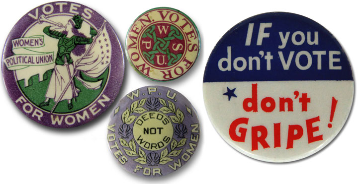 Vintage women's suffrage and voting campaign buttons
