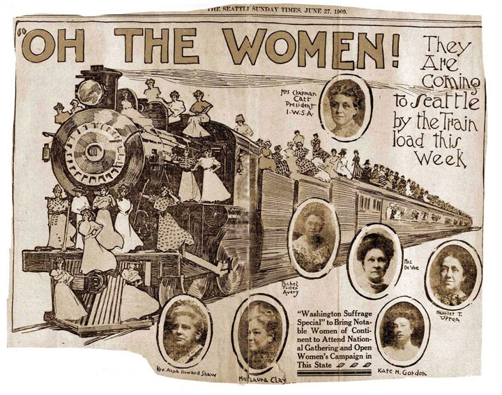 Women's suffrage illustration in 1909 Seattle Times newspaper
