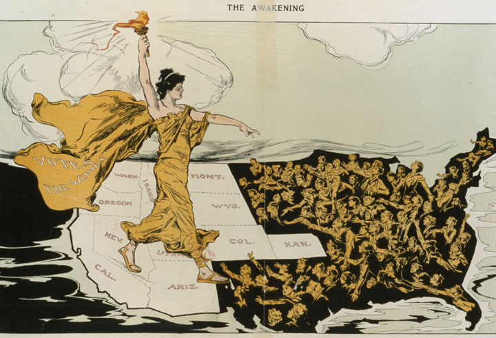 Historic political cartoon about western states leading the way for women's suffrage